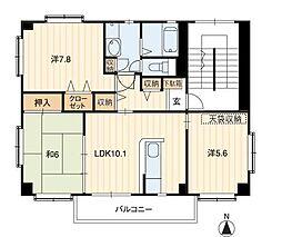 サンモール北竹島II[1階]の間取り