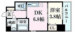 JR山陽本線 広島駅 徒歩7分の賃貸マンション 9階1DKの間取り
