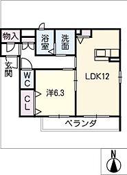 メゾン・ド・ジェ 2階1LDKの間取り