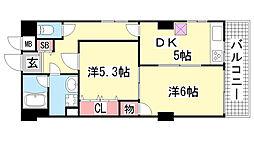 シルフィード・ドゥ北野[6階]の間取り