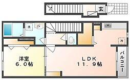岡山県岡山市中区東山3丁目の賃貸アパートの間取り