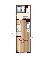 JR中央線 三鷹駅 徒歩6分の賃貸マンション 4階ワンルームの間取り