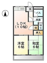 愛知県一宮市大和町妙興寺字三十八社の賃貸アパートの間取り