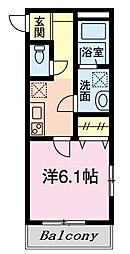 仮)グリシーヌ新田 2階1Kの間取り