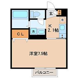D-room柏木 1階1Kの間取り