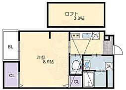 泉北高速鉄道 深井駅 徒歩10分の賃貸マンション 4階1Kの間取り