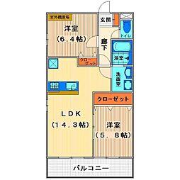埼玉県鶴ヶ島市新町3丁目の賃貸マンションの間取り