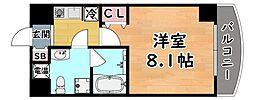 阪神本線 岩屋駅 徒歩4分の賃貸マンション 4階1Kの間取り