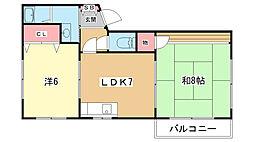 大阪府豊中市庄内西町1丁目の賃貸アパートの間取り