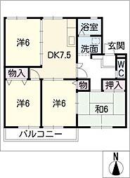 コートVEGA B棟[1階]の間取り