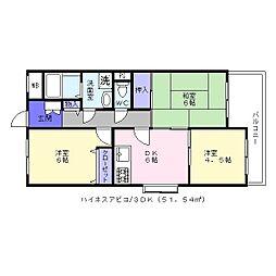 ハイネスアビコ[2階]の間取り