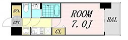 ファステート難波グランプリ 9階1Kの間取り