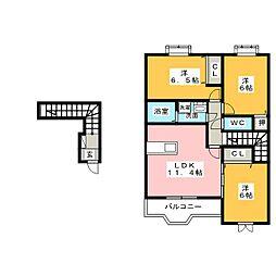 パークヒルズK C棟[2階]の間取り
