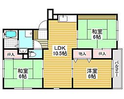 サンモール北花田[2階]の間取り