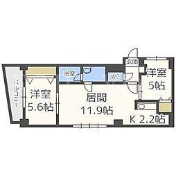 北海道札幌市中央区北一条東9丁目の賃貸マンションの間取り
