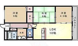 南海高野線 初芝駅 徒歩15分の賃貸マンション 3階3LDKの間取り