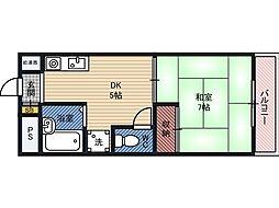 YKマンション 7階1DKの間取り