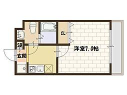 LaLa Glanz FUKUSHIMA 4階1Kの間取り