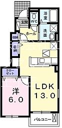 JR八高線 金子駅 徒歩23分の賃貸アパート 1階1LDKの間取り