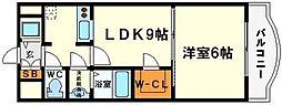 ノルデンタワー新大阪アネックスB棟 7階1LDKの間取り