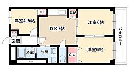 愛知県名古屋市名東区望が丘の賃貸マンションの間取り