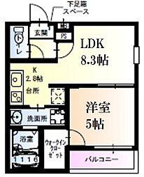阪神本線 武庫川駅 徒歩7分の賃貸アパート 2階1LDKの間取り