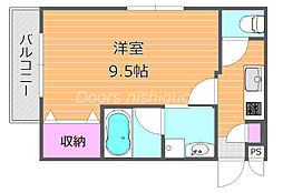 JR宇野線 大元駅 徒歩13分の賃貸マンション 4階1Kの間取り