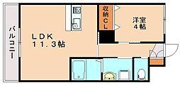 ボヌール飯塚駅前[1階]の間取り