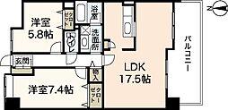 イワーサ楽々園[1階]の間取り