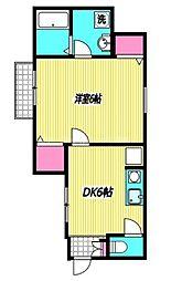 西武多摩川線 多磨駅 徒歩3分の賃貸アパート 1階1DKの間取り