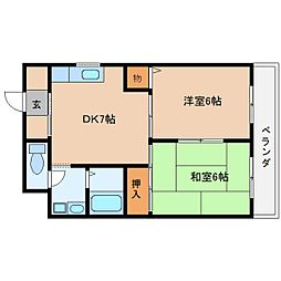 近鉄大阪線 桜井駅 徒歩6分の賃貸マンション 5階2DKの間取り