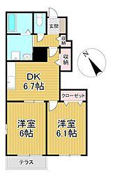 福岡県久留米市北野町上弓削の賃貸アパートの間取り