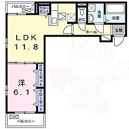 ラ・フルレックス 1階1LDKの間取り