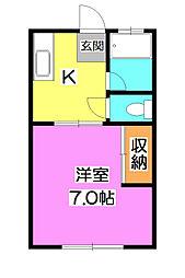 東京都清瀬市旭が丘2丁目の賃貸アパートの間取り