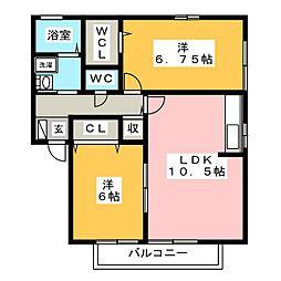 愛知県あま市本郷郷前の賃貸アパートの間取り