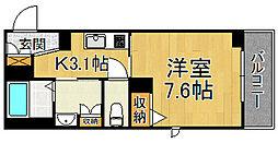 阪神本線 杭瀬駅 徒歩11分の賃貸マンション 3階1Kの間取り