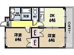 M'PLAZA城東六番館 6階2DKの間取り