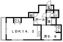 シャトー長居[5階]の間取り