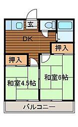 コムロハイムB[2階]の間取り