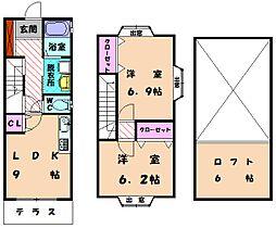 福岡県福岡市東区名島5丁目の賃貸アパートの間取り