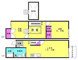 [タウンハウス] 兵庫県高砂市米田町米田 の賃貸【兵庫県 / 高砂市】の間取り