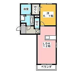 静岡県静岡市駿河区有東2丁目の賃貸アパートの間取り