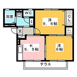 サンベール榎田C[1階]の間取り