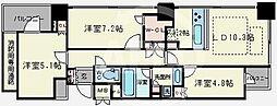 淀屋橋アップルタワーレジデンス 3階3LDKの間取り
