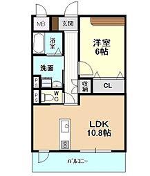 愛知県名古屋市千種区宮根台1丁目の賃貸マンション 3階1LDKの間取り