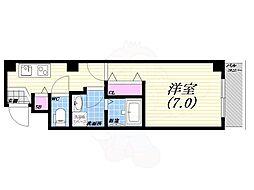 阪神本線 西宮駅 徒歩5分の賃貸マンション 2階1Kの間取り