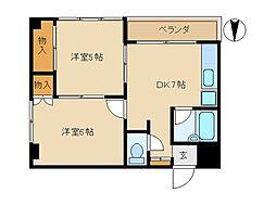 東京都大田区東矢口6丁目の賃貸マンションの間取り
