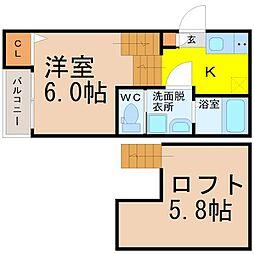 名古屋市営東山線 八田駅 徒歩4分の賃貸アパート 1階ワンルームの間取り