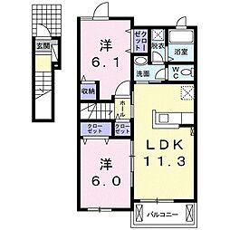 JR高徳線 板野駅 徒歩37分の賃貸アパート 2階2LDKの間取り