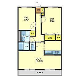 ハートフルマンション Villa Luna B[303号室]の間取り